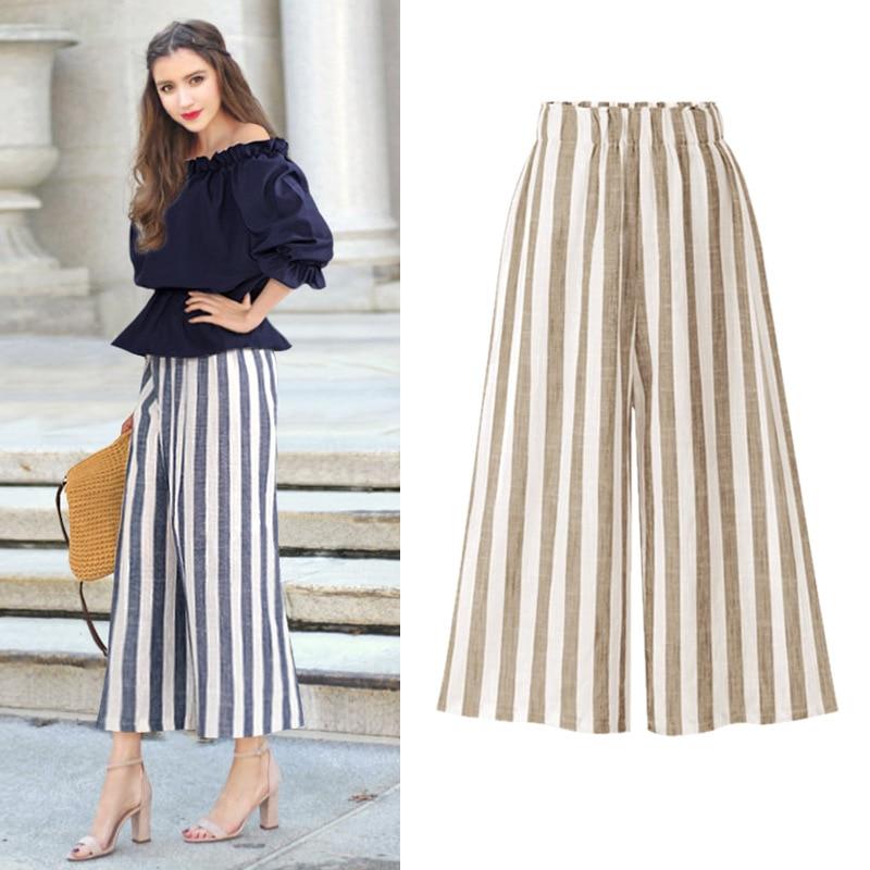 Fashion High Waist Loose Trousers Women Wide Leg Striped Pants 2018 Female Elegant Ankle Length Pants Plus Size 5XL 6XL Pants