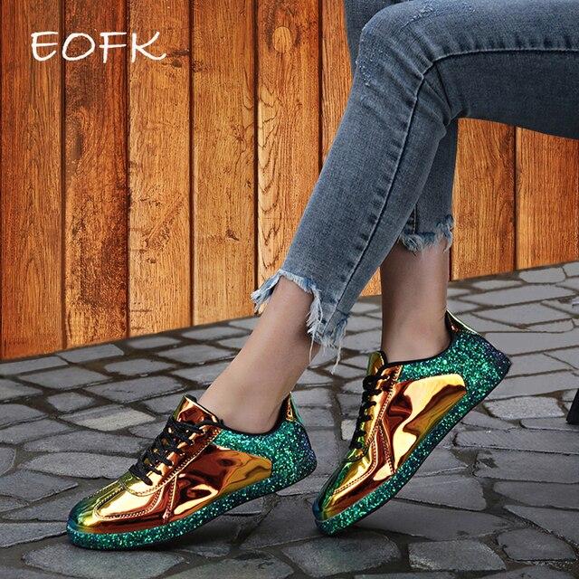EOFK נשים סניקרס זהב גליטר Shinny בלינג אופנה מזדמן אוקספורד נעלי אישה גברת בלט דירות מבריק סניקרס נעלי בד