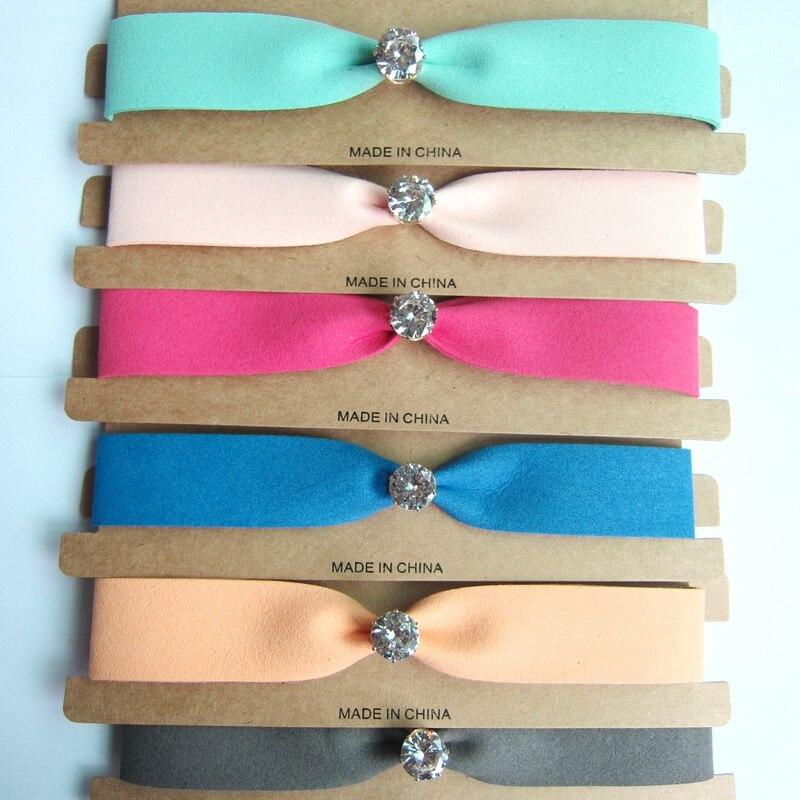 2017 New Sale Spring Colors Good Quality Velvet With Round Rhinestone Centered Fashion Velvet Choker