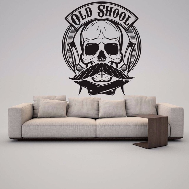 Skeleton skull head beard moustache wall vinyl sticker decal beauty hair barbershop salon removable wall stickers