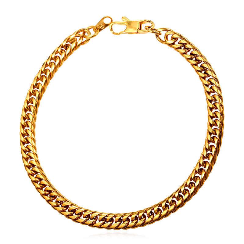 Chunky Curb Link Chain bransoletki mężczyźni Trendy biżuteria ze stali nierdzewnej czarny pistolet/złoty kolor mężczyźni hurtownie bransoletki bransoletki H258