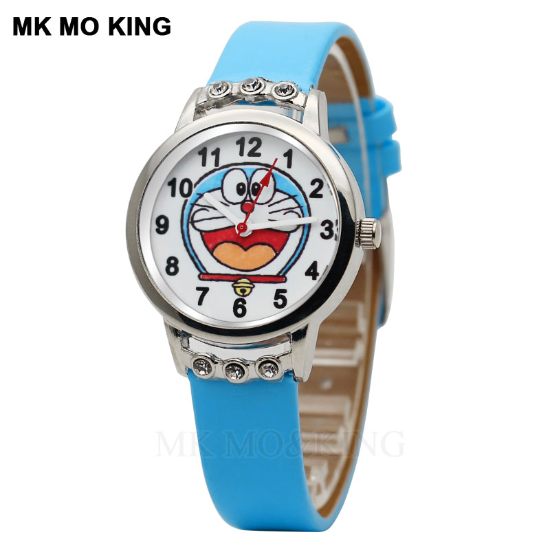 Hot Selling Classic Blue Doraemon Robot Cat Cartoon Children Quartz Watch Boy Girl Rhinestone Casual Leather Waterproof Clock
