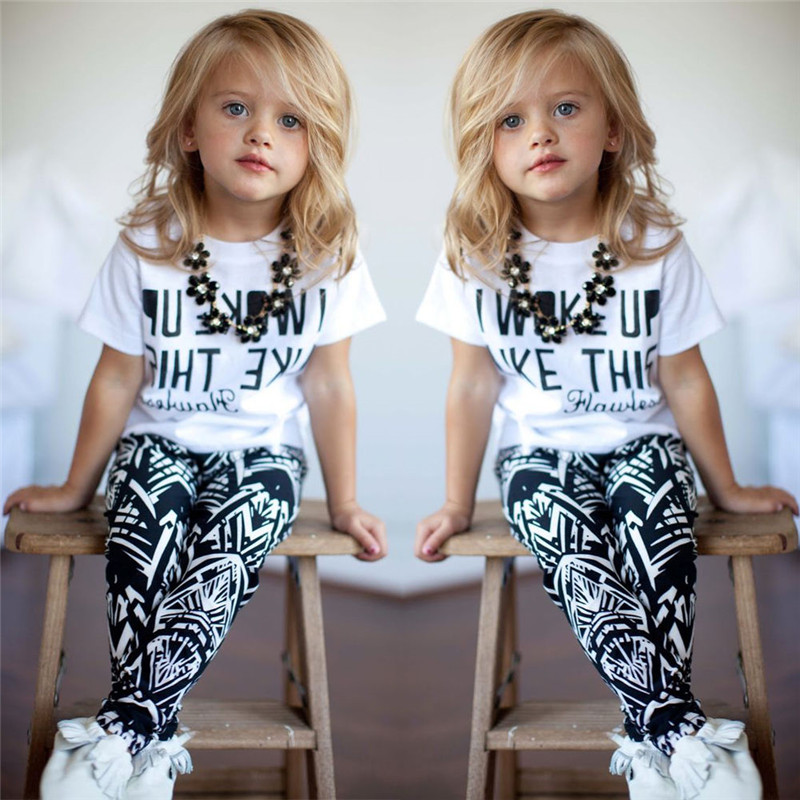 Clode for 2-7 Years Old Boys Toddler Girls Outfit Clothes Print T-Shirt Tops+Long Pants Trousers