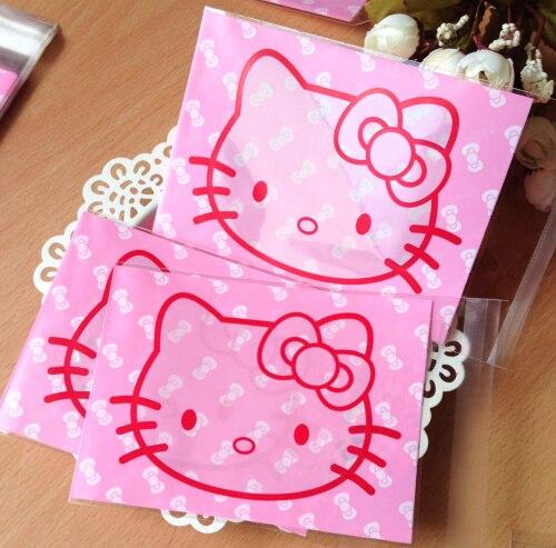 100pcs lot bowknot pink hello kitty plastic bags 10x13cm food self sealing  bags cookie bags 3b55b251765a3