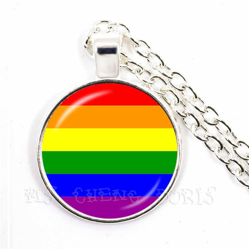 Naszyjnik LGBT Bi Pride 25mm szklaną kopułą wisiorek naszyjnik Gay Pride tęczowa flaga zdjęcie szkło Cabochon biżuteria dla kobiet mężczyźni kochanka