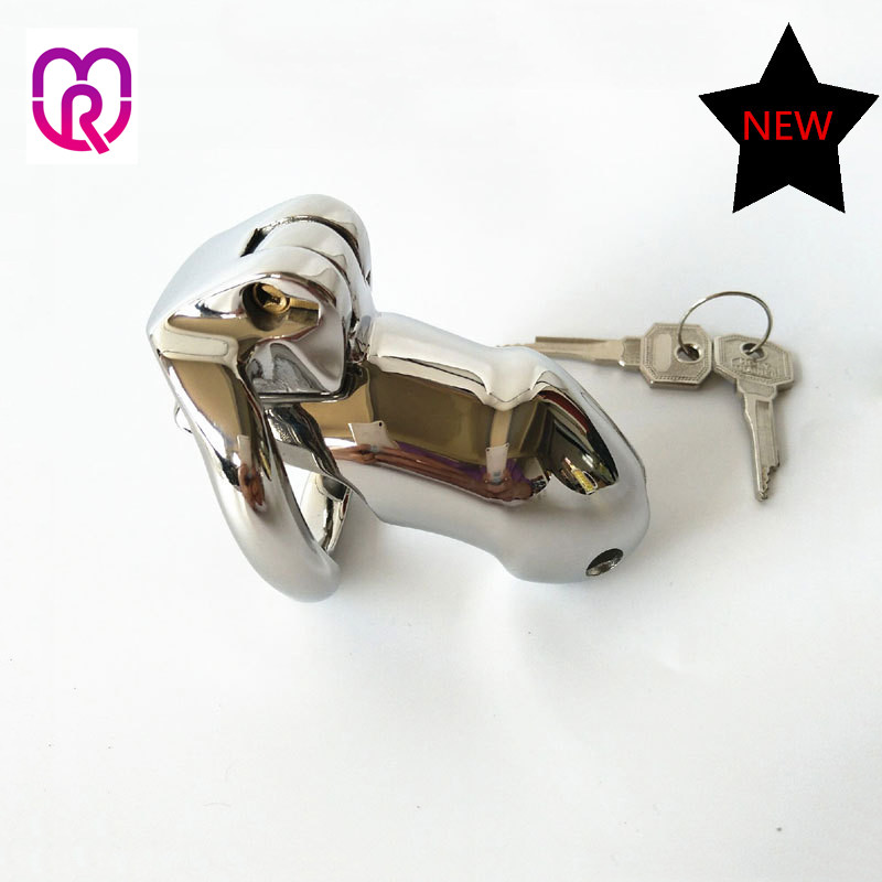 New Male Chastity Device With 2 size Penis Ring,Cock Cage,Cock Ring stainless steel device cage sex toys for men penis sleeve metal cockring penis cage with anti off ring stainless steel male chastity device adult sex toys cock rings for men cb6000s