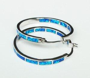 Image 3 - Big blue/white fire opal oorringen voor vrouwen 32mm een diameter van