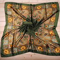 1PC 90*90cm Fashion Silk Flower Printed bandana scarf  cachecol shawl for Women foulard bufandas suit A2