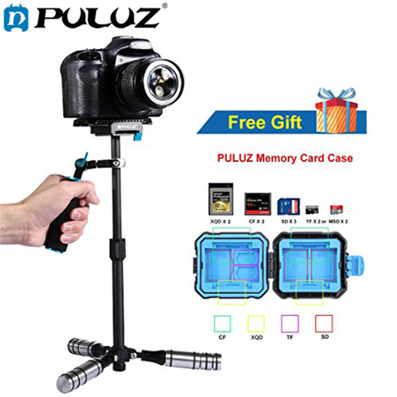 PULUZ Mini Handheld Stabilizer Carbon Fiber steadicam for DSLR Video Camera Portable light Steady cam Better than S40 S60T handheld camcorder stabilizer s60t carbon fiber steady stabilizer for canon professional camera stable device