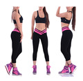 2016 Sexy Women's Leggings Workout Trousers Activewear Striped Pencil Pants Ventilation Package Hip Leggings Mid-Calf Leggins