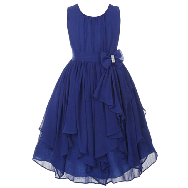 Girls Party Dress 2016 New Chiffon Christmas Long Dresses Sleeveless  Princess Frocks For Birthday And Wedding