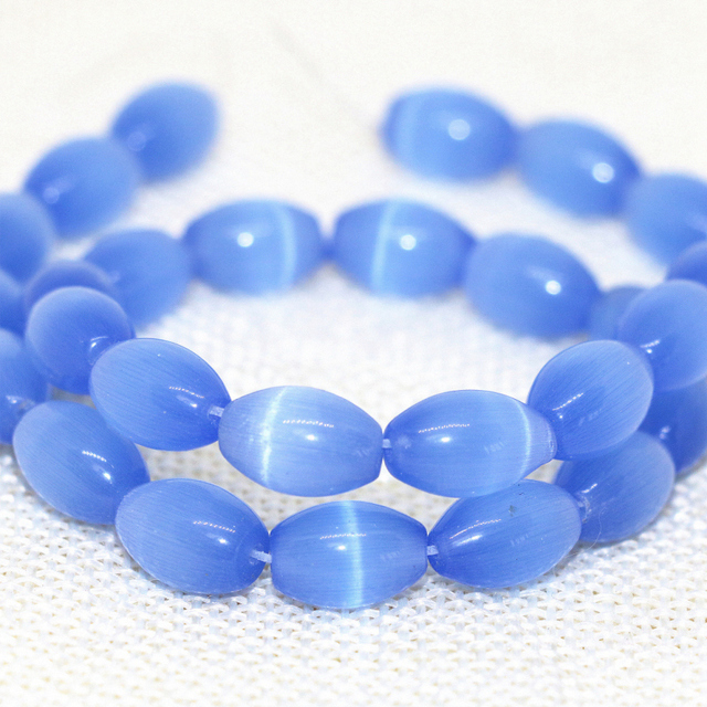 High quality light blue 8*12mm rice Mexican opal cat eyes loose beads factory price jewelry making 14inch B1571