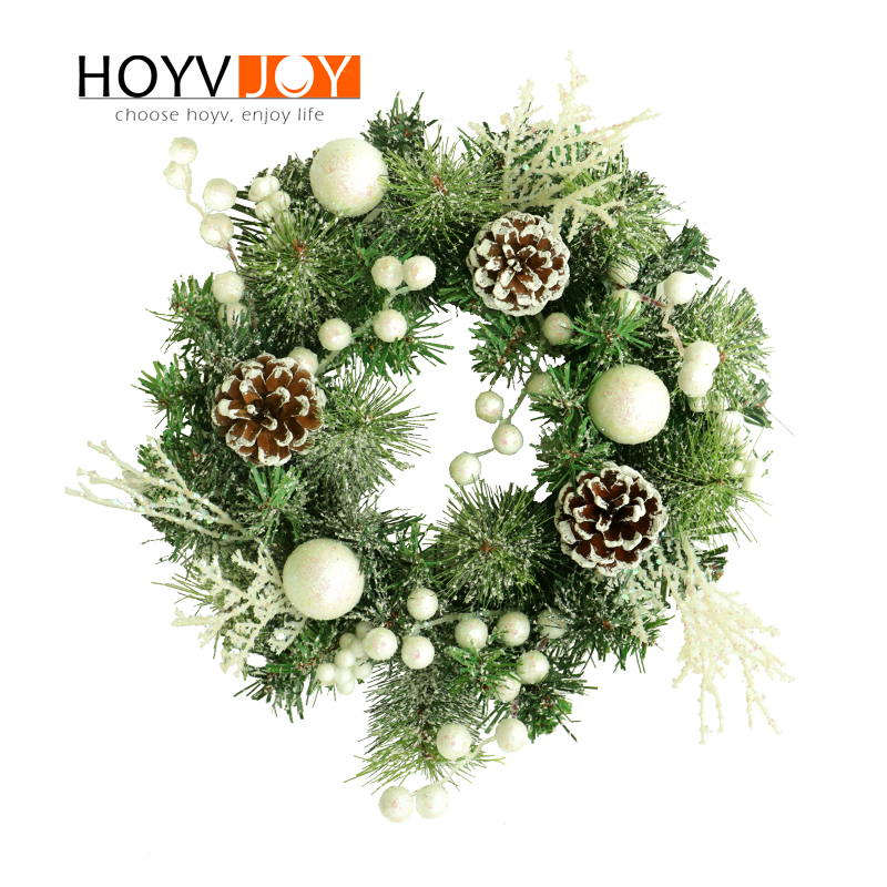 HOYVJOY Custom Made Christmas Wreath Door Decoration Artificial Wreath with Natural Pine Cone Pendant Wall Decor Wreath in Wreaths Garlands from Home Garden