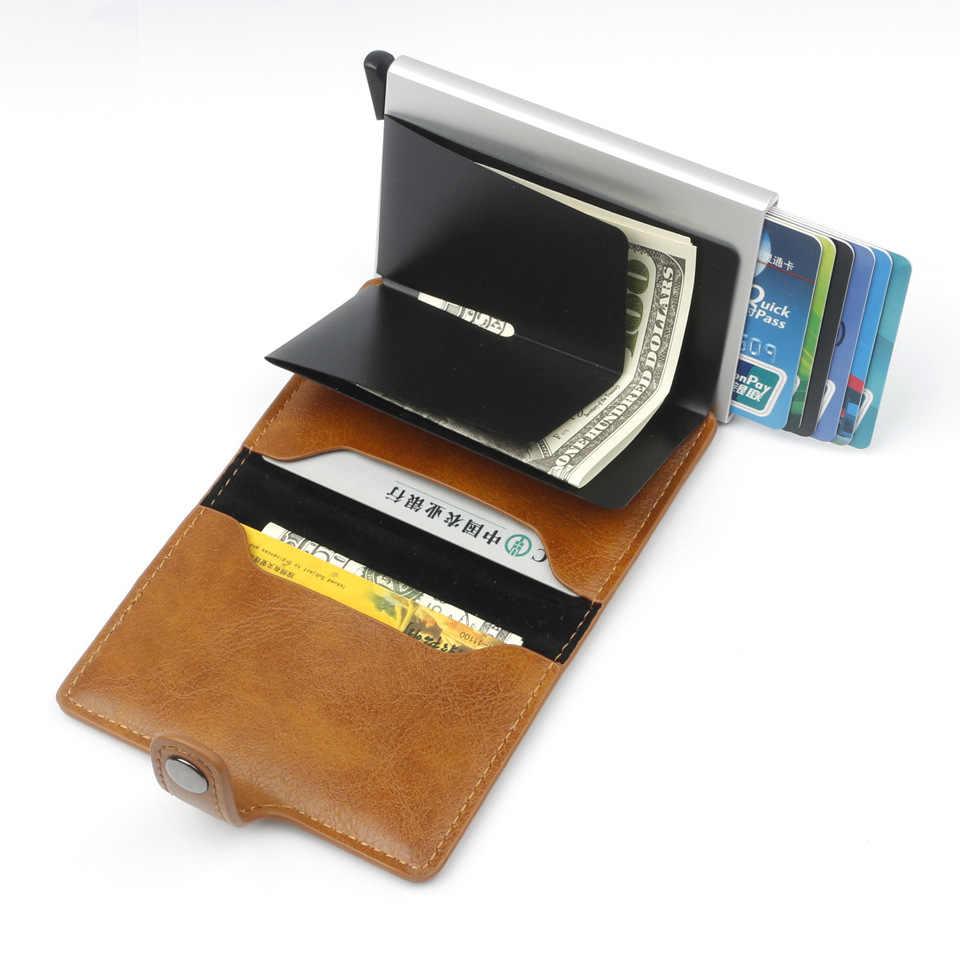 Nouveau antivol hommes Vintage porte-carte de crédit bloquant Rfid portefeuille PU cuir unisexe Information de sécurité en aluminium métal sac à main