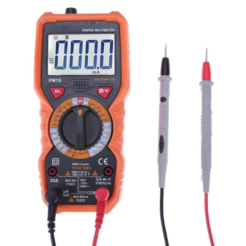 PM18C Digital Multimeter True RMS Multi Meter Voltage Current Resistance Tester Capacitance Frequency Temperature Tester uxcell digital multimeter ac voltage current resistance capacitance frequency temperature tester meter 600mv 6v 60v 600v 1000v