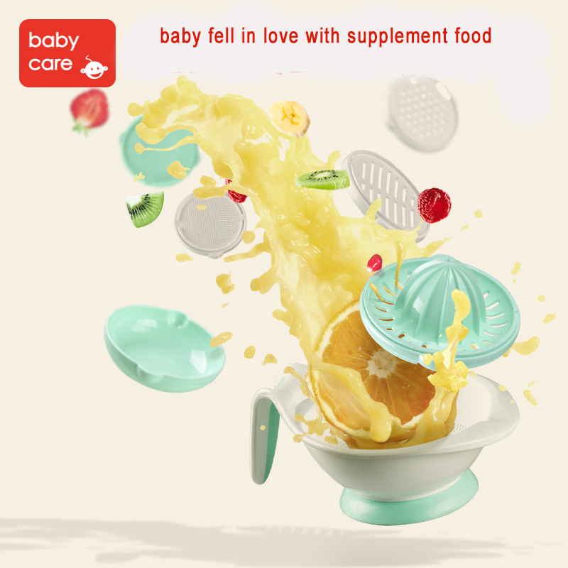 Babycare 8 in 1 Baby Food Fruit Mills and Container Bowl storage Set Manual Grinding Dishes Infant Food Maker Tool Feeding Bowl