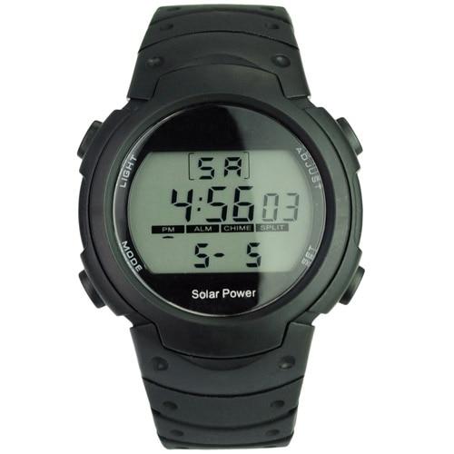 Unisex Solar Power and Li-ion Battery Digital Watch with Functions of Calendar/EL Backlight/Snooze/Alarm/Stopwatch- Black цена и фото
