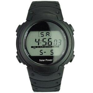 Unisex Solar Power i akumulator litowo-jonowy cyfrowy zegarek z funkcjami kalendarza/EL podświetlenie/drzemka/Alarm/stoper-czarny