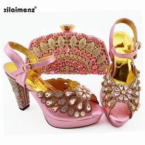 Image 2 - 2019 新ピーチ色ファッションラインストーン女性の靴とマッチングバッグセットアフリカスタイルは靴やバッグセットにパーティー