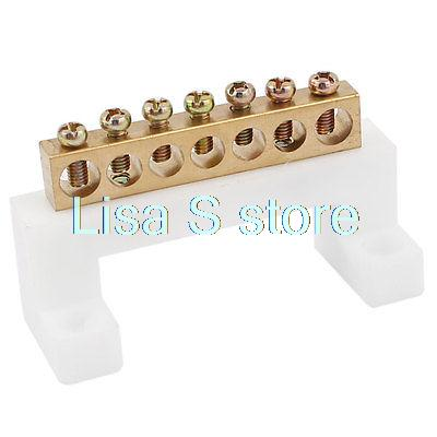 Electric Cable Wire Connector 7 Positions Screw Barrier Terminal Block 400V 20A