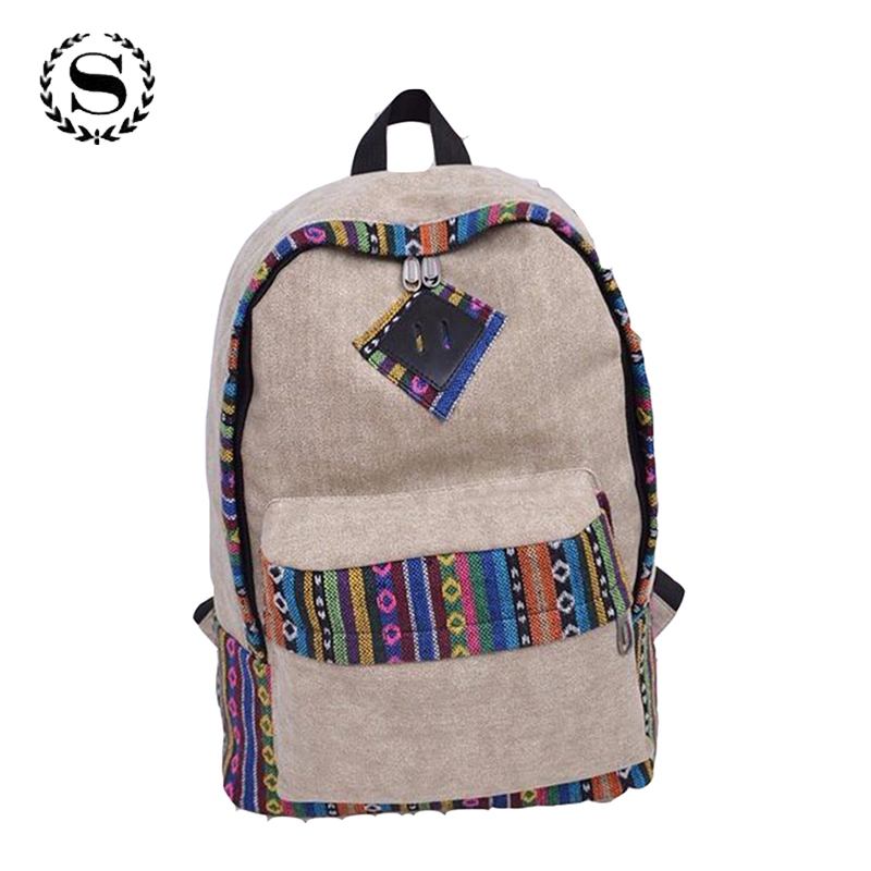 Chinese Style Women's Canvas Backpack School Bag Girls Ladies Teenagers Unisex Casual Travel Bags Mochila Laptop Bagpack 16 roblox game casual backpack for teenagers kids boys children student school bags travel shoulder bag unisex laptop bags