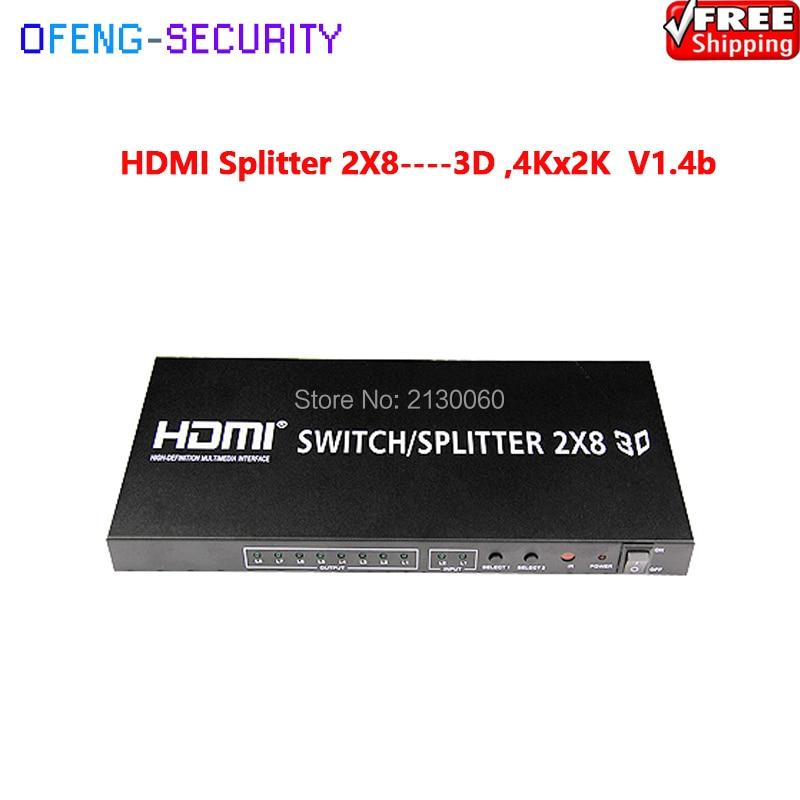 HDMI Splitter hdmi 2x8 Splitter, HDMI Distributor--3D ,4KX2K V1.4b, 1080p/60Hz 2018 hdmi splitter 1x8 4k ultra hd 8 port amplified signal distributor powered splitter support 3d 4kx2k resolution