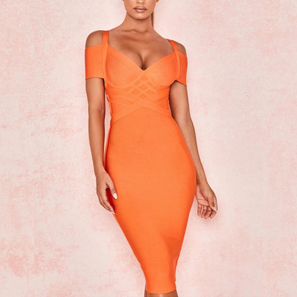 ADYCE New Summer Bandage Dress Women Vestido 2019 Sexy Orange V Neck Off Shoulder Club Bodycon