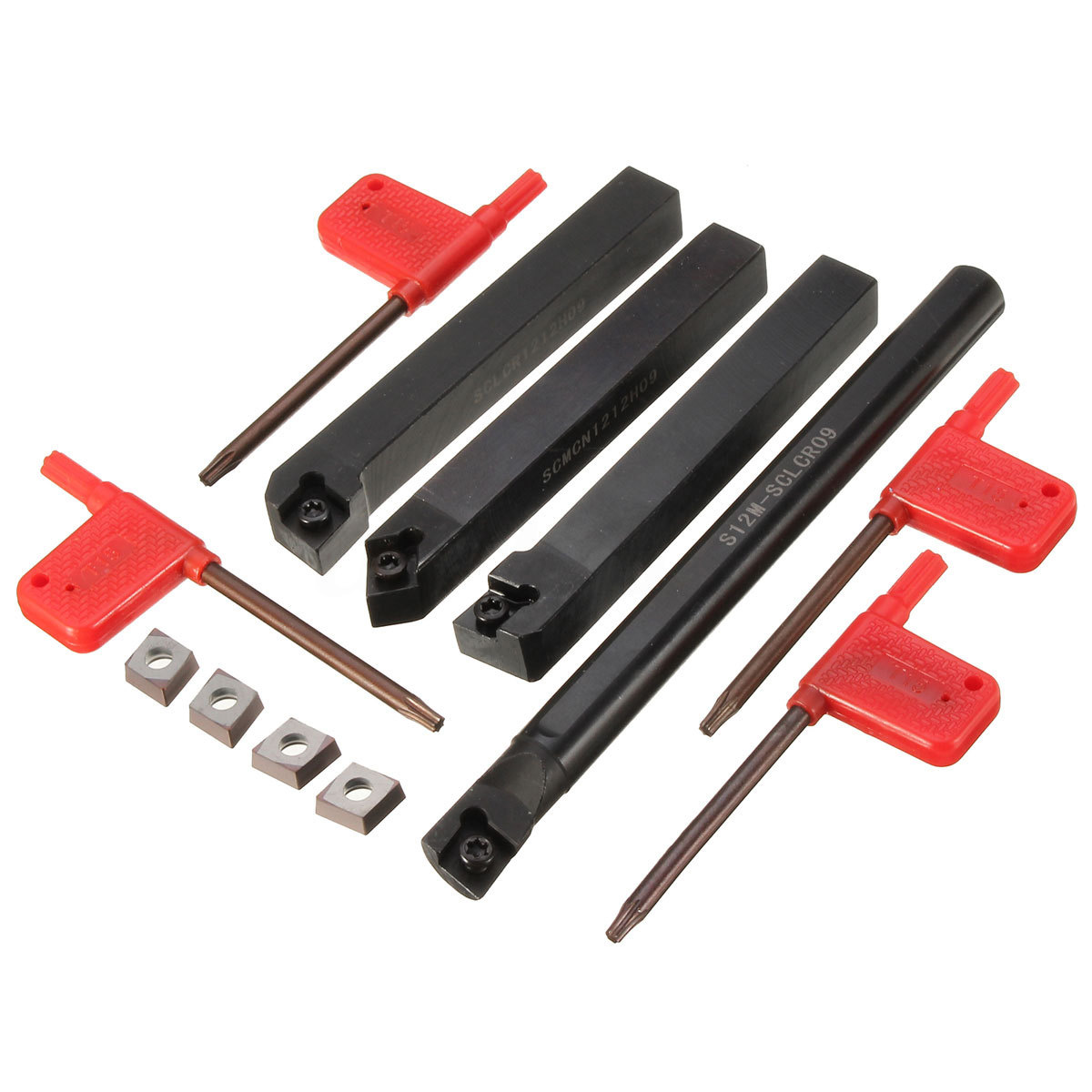 4pcs Lathe Index Boring Bar Turning Tool Holder + 4pcs CCMT09T3 YBC251 Carbide Inserts + 4pcs Wrenches solid carbide c12q sclcr09 180mm hot sale sclcr lathe turning holder boring bar insert for semi finishing