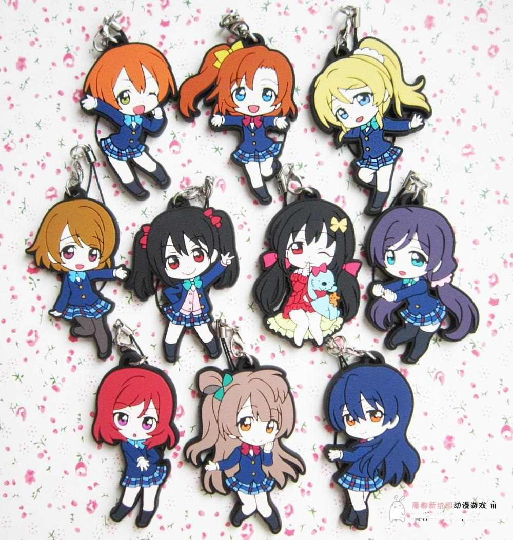 Kotori Nico Eli Rin Umi Maki Anime Love Live! Cinta Hidup! Sekolah Versi Gantungan Kunci Karet