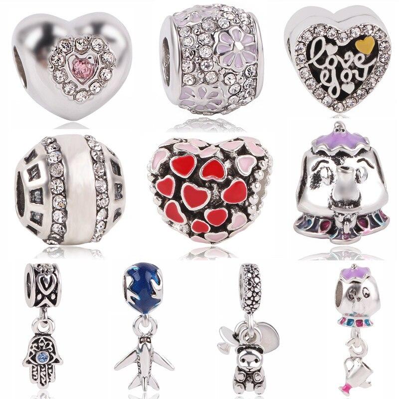Couqcy 2018 New European Silver Bead Charm Wing Beads Fit Pandora Women Bracelets & Bangles Enamel Beads Jewelry Making