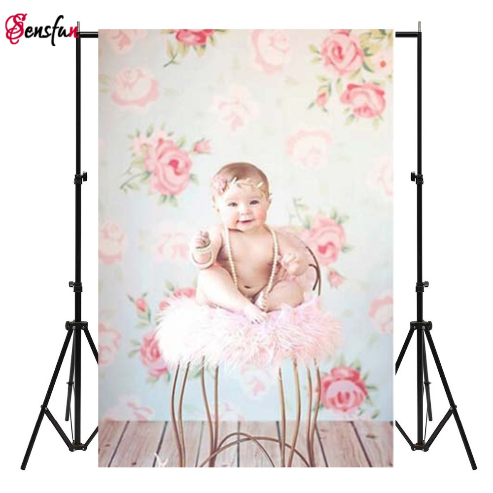 Customized Children Wooden Floor Thin Vinyl Photography Backdrops Digital Printing Newborn Background Floral Photo Backdrop