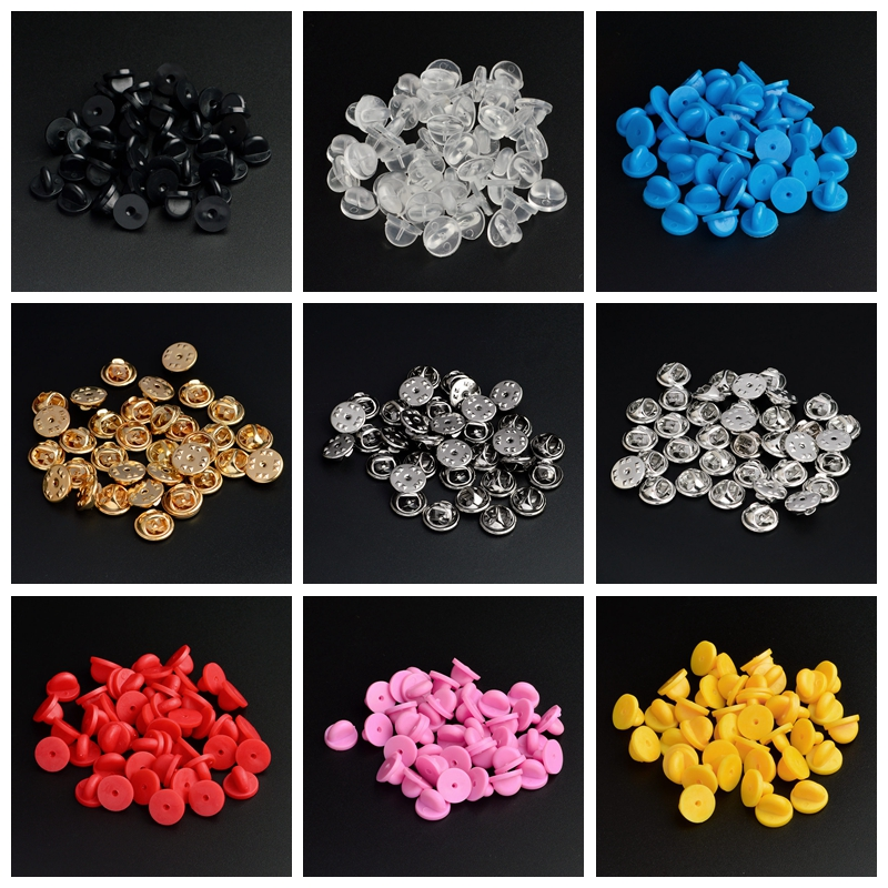 30pcs/set 9 Color Metal Rubber Pin Back Tray Base Back Brooch Badges Accessories Claspa For DIY Jewelry Making