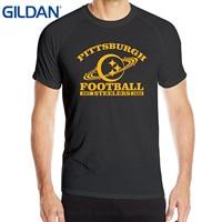 GILDAN Bawełna Casual Shirt Biały Top Annabelle Sportsy męska Pittsburgh Steeler Krótki Rękaw Letnie Koszulki Czarny