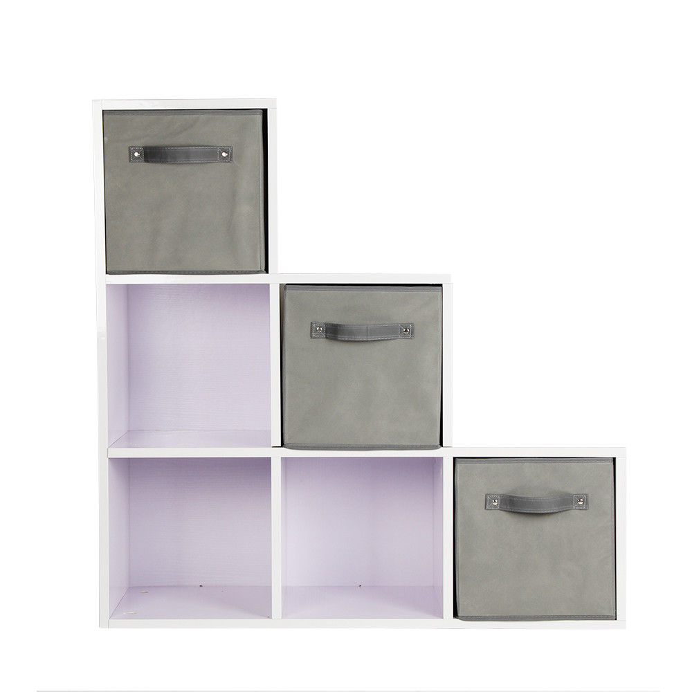 Pretty 6 Cube Kids Photo/Book Storage Unit Girl/Boy Bedroom Shelves 3 Grey Boxes Locker Shelf
