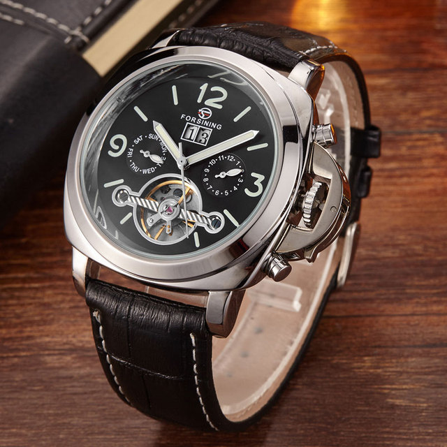 2016 Fashion Mens Watches Genuine Leather Band Luxury Brand Multifunctional Military Tourbillon Hollow Mechanical Wristwatches