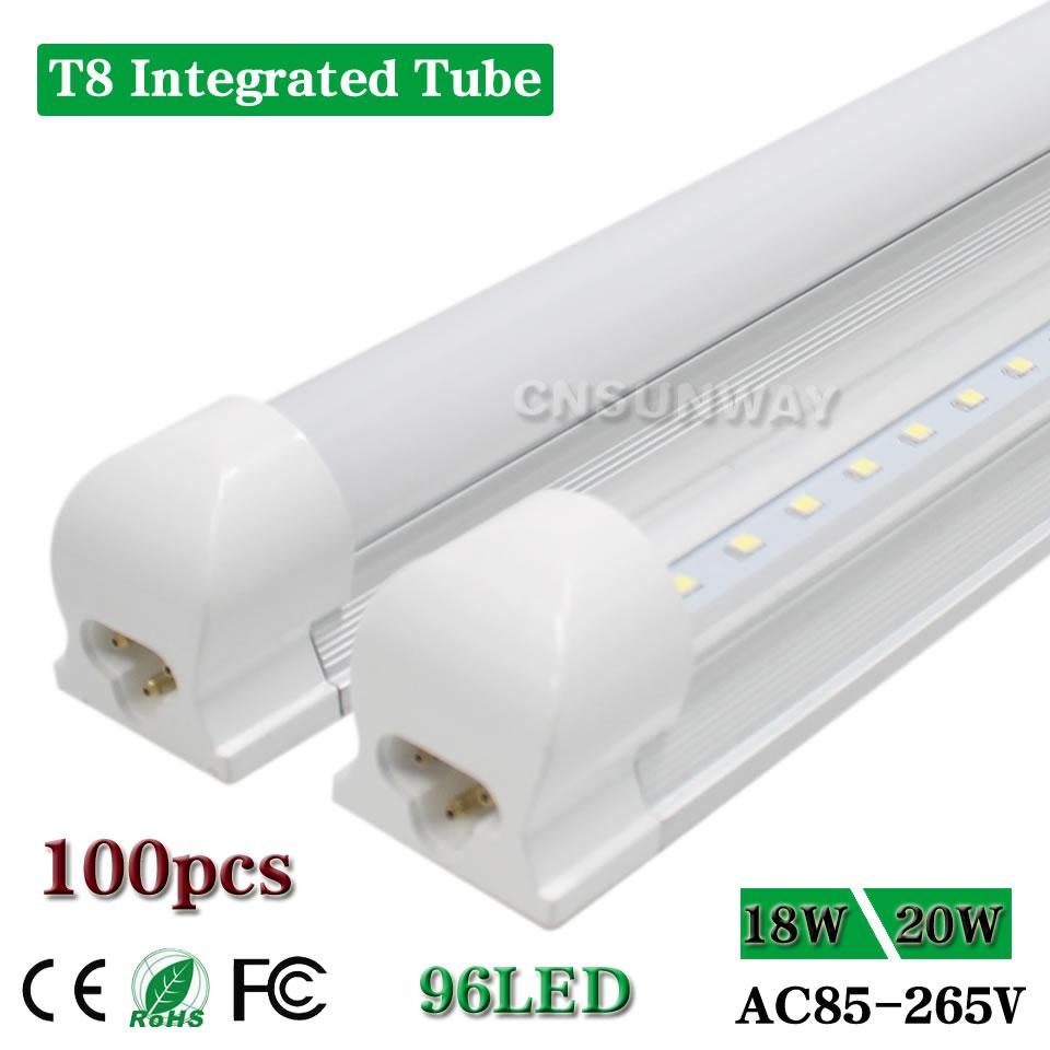 4 Foot Led Lights >> Us 790 0 5 Off Led Tube Bulb Integrated T8 4 Foot Led Lights Clear Milky 48 4ft Shop Garage Cooler Lighting Fixture Lamp 20w 18w Ac85 265v In Led
