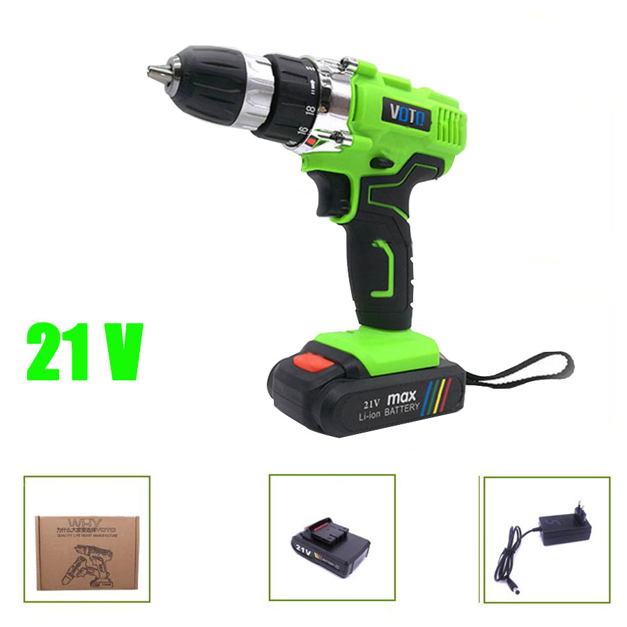 VOTO V6 Battery Rechargeable Cordless Drill Electric Screwdriver Set Lithium Power Tools Screw Gun Driver 21V Green 2018 voto v6 battery rechargeable cordless drill electric screwdriver set lithium power tools screw gun driver 12v 16 8v 21v pink