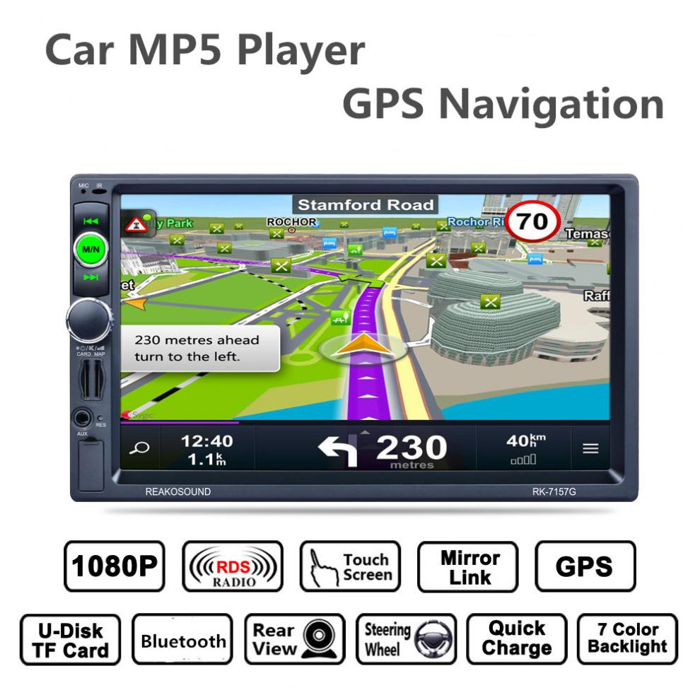 купить 7inch 2 Din Bluetooth Auto Multimedia Car Stereo MP5 Player GPS Navigation RDS Radio Support Mirror Link Aux In Rear View Camera по цене 5228.37 рублей
