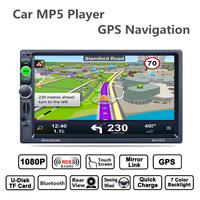 7inch 2 Din Bluetooth Auto Multimedia Car Stereo MP5 Player GPS Navigation RDS Radio Support Mirror Link Aux In Rear View Camera