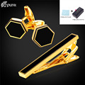 Tie Clips & Cufflinks Set For Mens With Brand Box Cufflinks Set Groomsmen Gifts Black Gold/ Plated Hexagon TC2106G