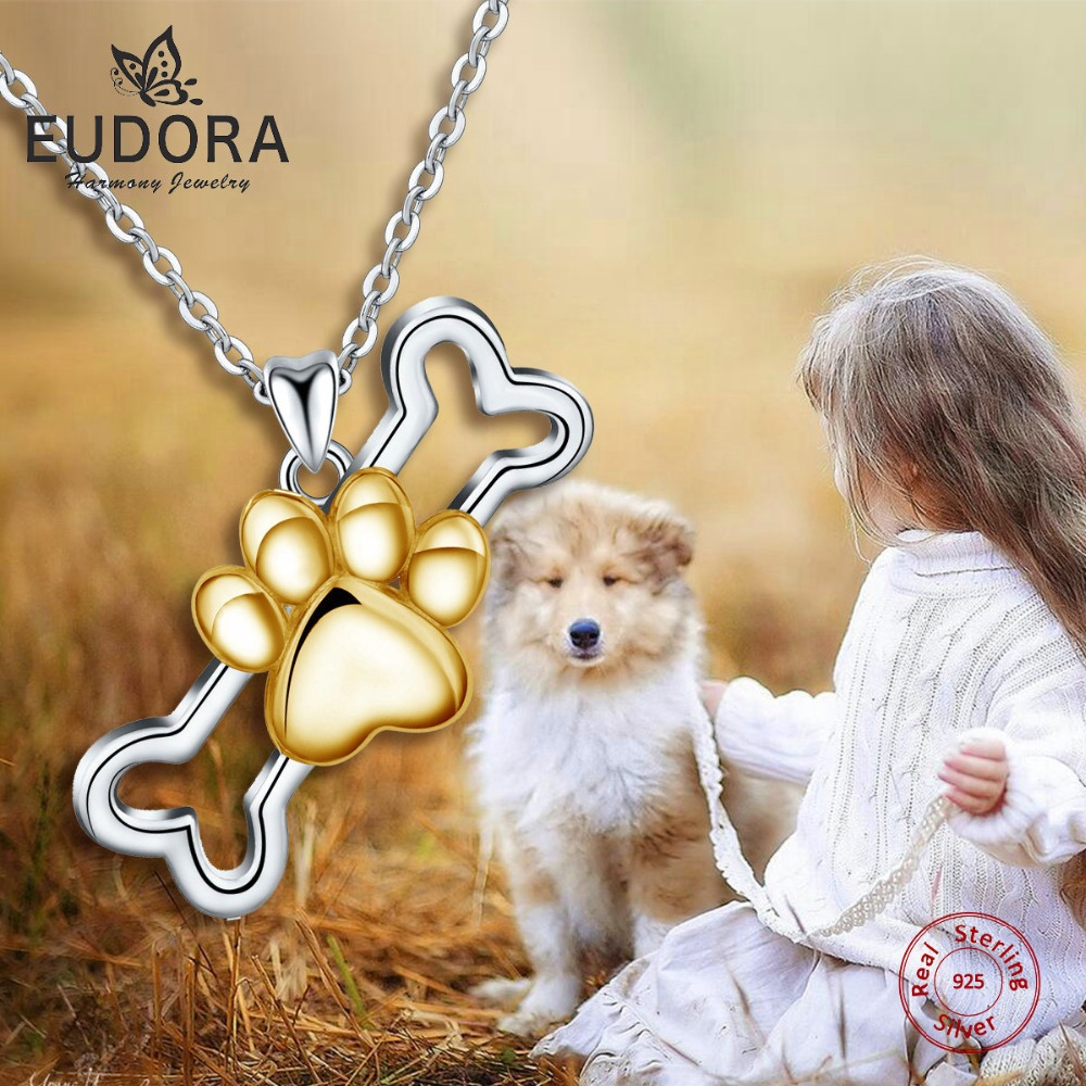 EUDORA 925 Sterling Silver Dog Paw Footprints Pendants Necklace Cute Sliver Jewelry with 18 inch Chain Faithful Accompany Torque