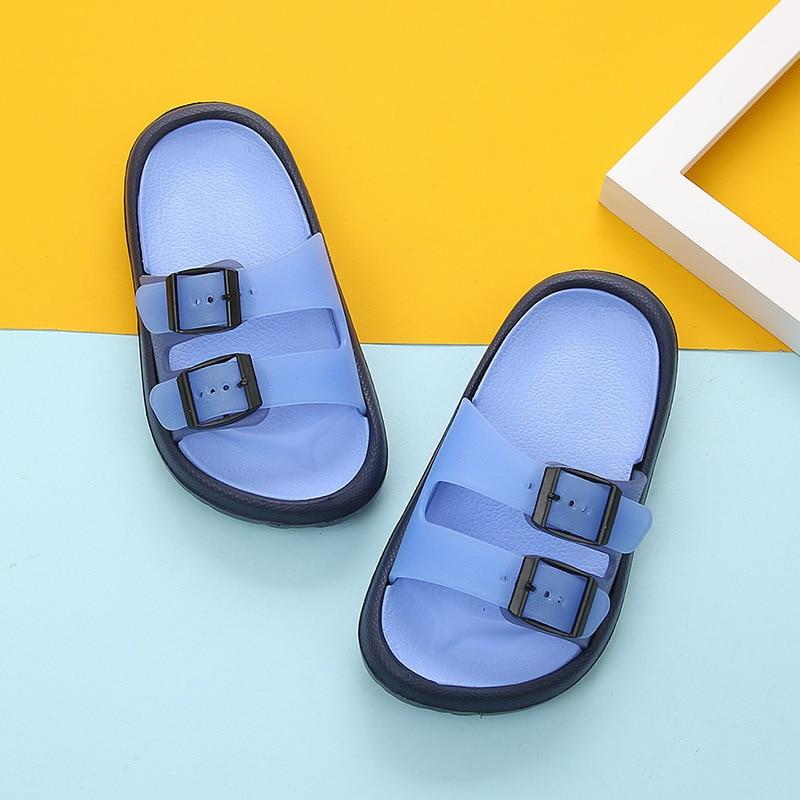 Новая летняя мультяшная детская обувь Cave мальчики девочки уличные тапочки дети пляжные вьетнамки дышащий светильник тапки для малыша - Цвет: Blue