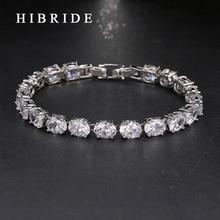 HIBRIDE JEWELRY Fashion AAA Cubic Zircon Round Shape Wedding Bracelets &Bangles, White Gold Color Bracelets For Women Gift B-18