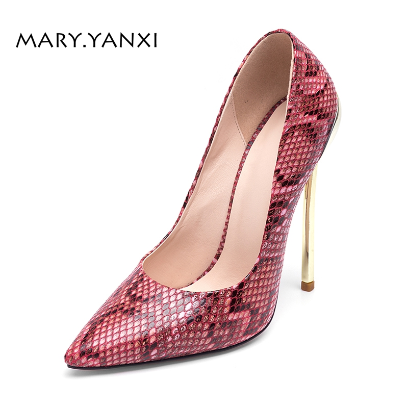 Spring/Autumn Women Pumps Lady Shoes Big Size Serpentine High Thin Heels Pointed Toe Fashion Party Slip-On Shallow Stilettos women pumps big size shoes crystal bling air mesh transparent high thin heels pointed toe fashion party sexy slip on shallow