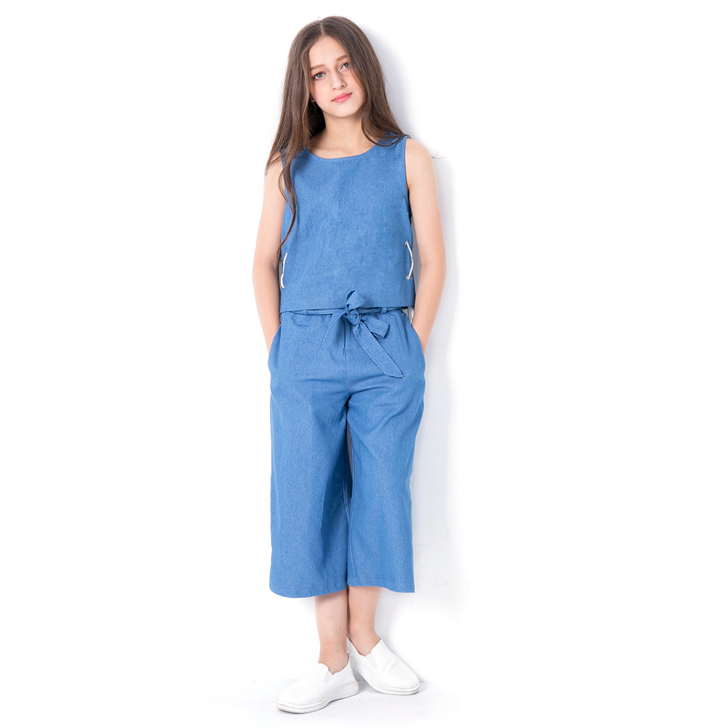 Teen Children Clothing Sets 2018 Summer Blue Sleeveless T-shirt+ Pants 2Pcs Suit For Girls 5 7 6 8 9 10 12 14 Years Kids Clothes teenage girls clothing sets for teens girl children summer half sleeves t shirts skirt pants 11 12 13 14 kids clothes 2pcs sets