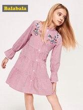 Balabala kız çizgili gömlek elbise Flare kollu elbiseler papyon bel çocuk genç kızlar bahar sonbahar elbiseler