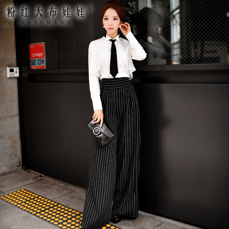 original   wide     leg     pants   female trousers 2016 autumn new fashion temperament OL striped   pants   women wholesale