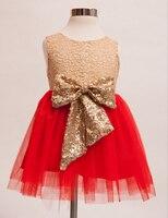 Nowy Sequined Bow Lace Mesh Tutu Sukienki Dla Dziewczynek Dla Dzieci, księżniczka Red Hot Złota Mozaika Taniec Odzież 5 sztuk/partia, hurtownie