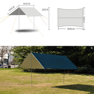 Image 4 - 3M x 3M Waterdicht Zon Onderdak Tent Tarp Anti UV Strand Tent Schaduw Outdoor Camping Hangmat Regen Vliegen camping Zonnescherm Luifel Luifel