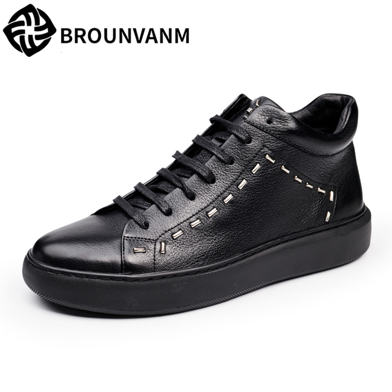 Men's high shoes British tide new winter thick black leather casual shoes bottom boots men breathablbreathabl sneaker fashion 2017 new autumn winter british retro zipper leather shoes breathable sneaker fashion boots men casual shoes handmade